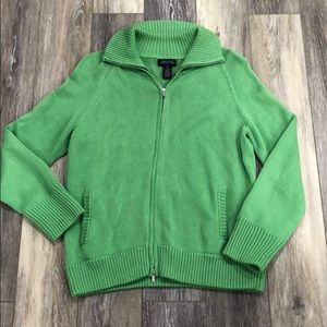 Jones New York Green Zipper Sweater